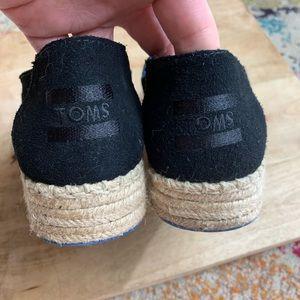 Toms Shoes - Toms Black Suede Platform Espadrilles Alpargata 7